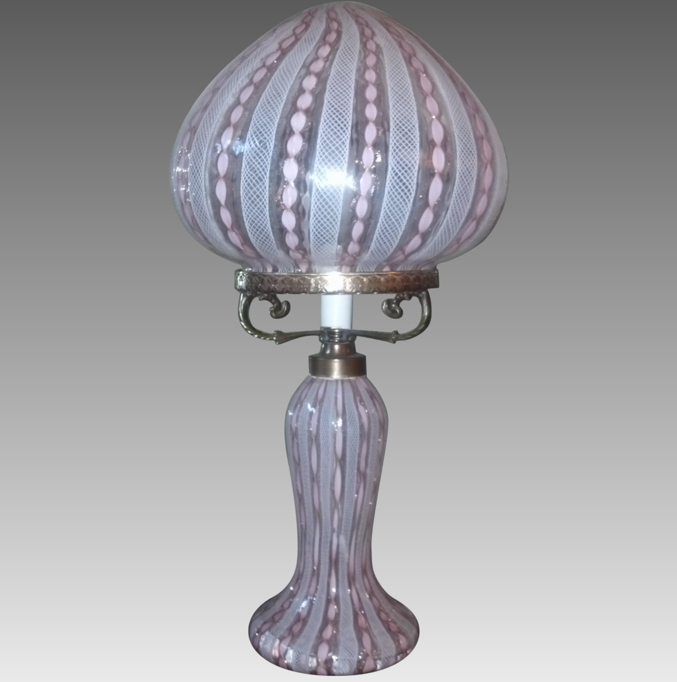 Murano Latticino and Ribbon Glass Lamp_1