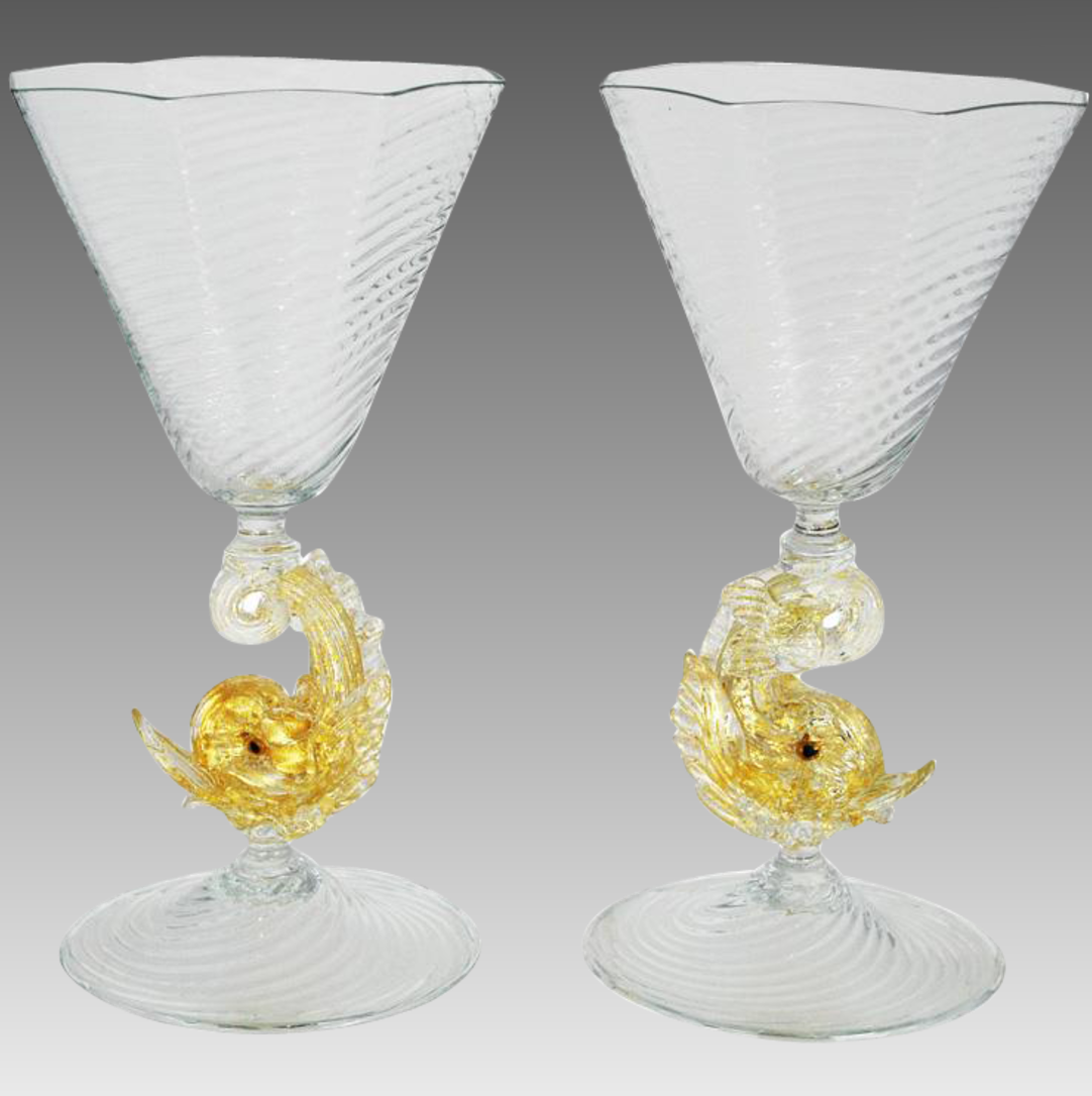 Pair of Venetian Glass Goblets White Wine Stem Dolphins_2
