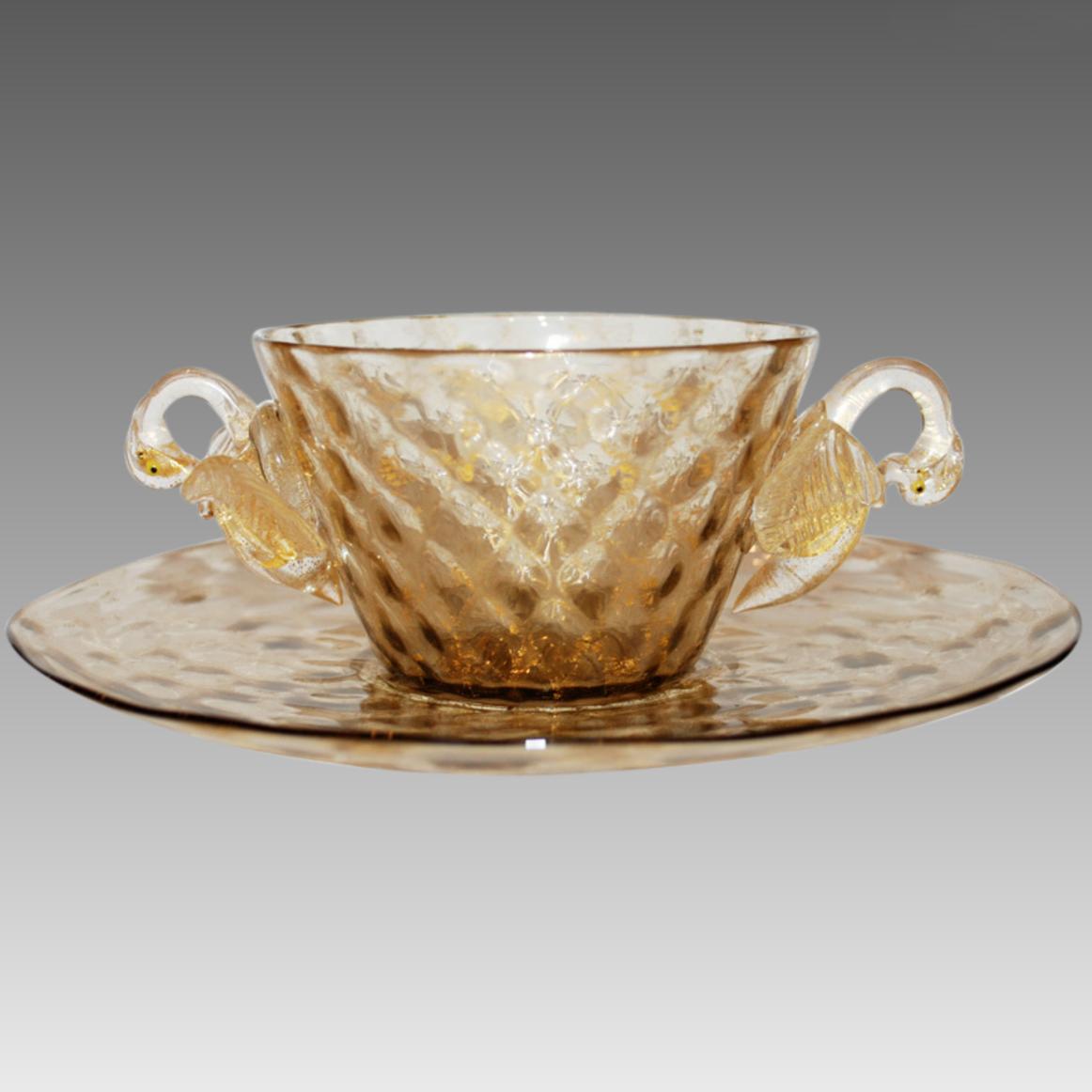 Vintage Murano Venetian Glass Bowl Plate Swans_1