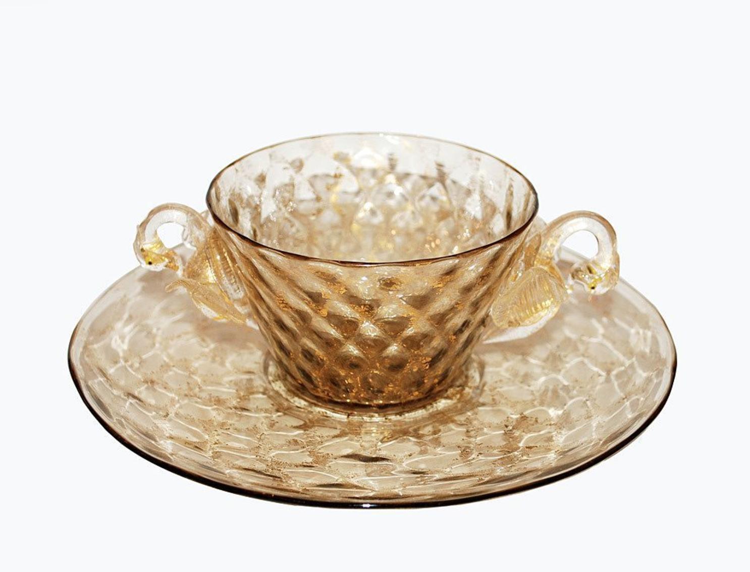 Vintage Murano Venetian Glass Bowl Plate Swans_2