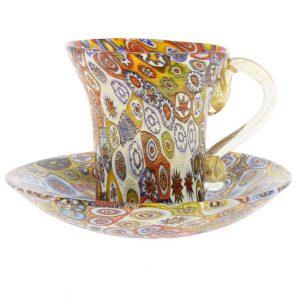 イタリア製 ベネチアングラス(ムラノガラス) ミルフィオリ カップ&ソーサー