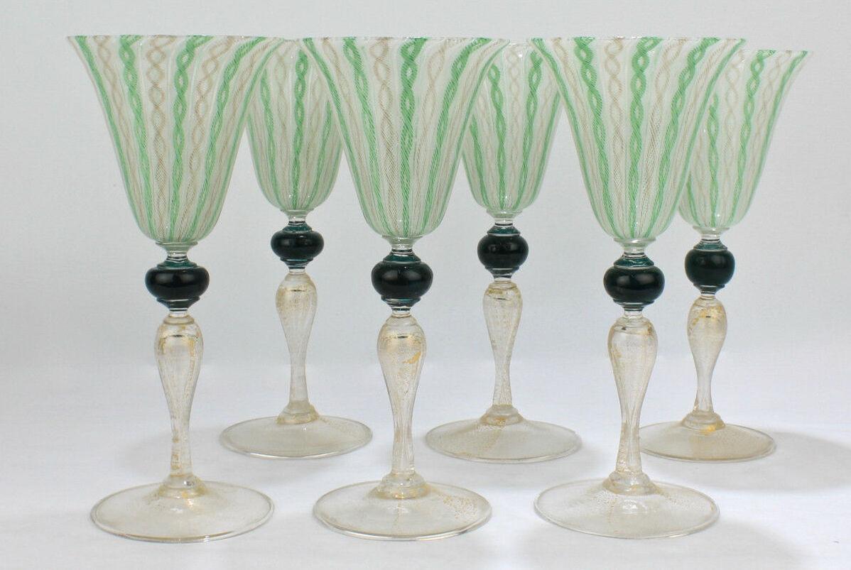 ベネチアングラスのラッティーノ技法を使ったグラス