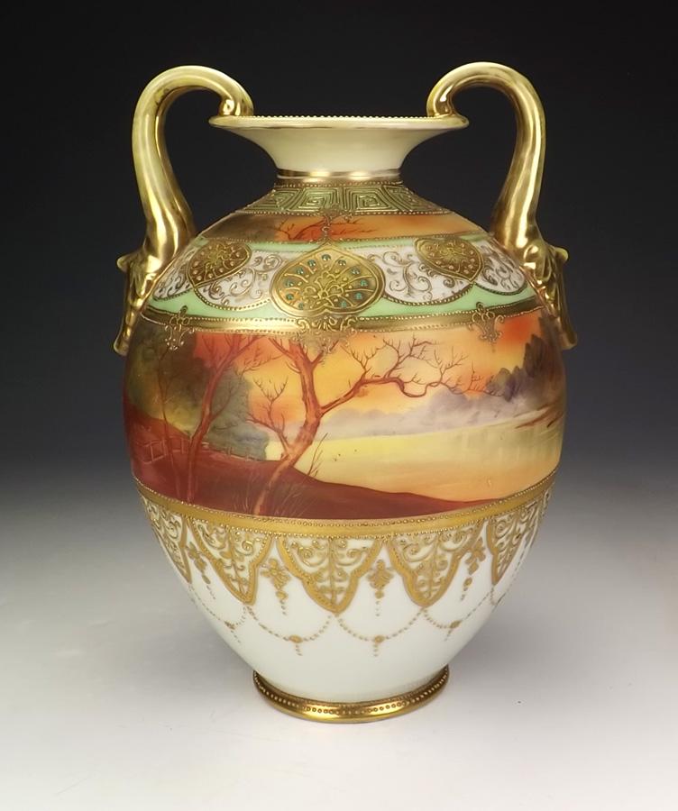 ・オールドノリタケ製の金装飾ガレ風景のの花瓶