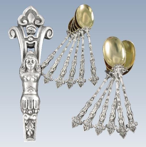 ピュイフォルカ 希少なフレンチアンティーク 純銀ヴァーメイル加工のカリアティード(女人像柱)ティースプーン 12本セット