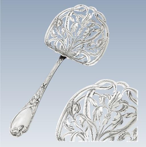 ピュイフォルカ フレンチアンティーク アール・ヌーヴォー様式 純銀アイリス模様のアスパラガスサーバー