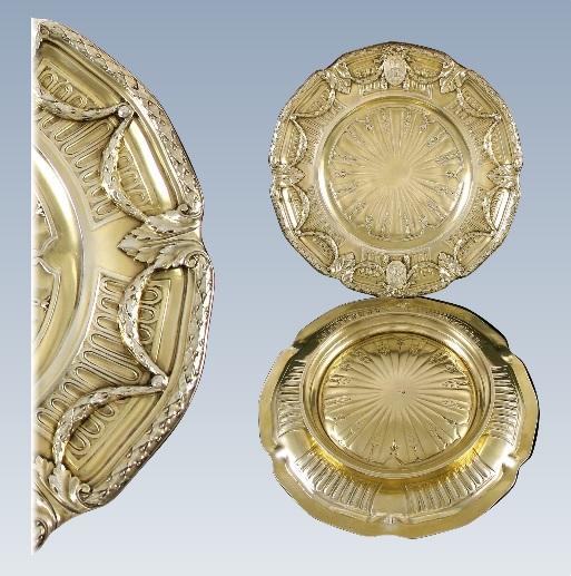 ピュイフォルカ フレンチアンティーク ヴァーメイル加工の純銀デザートプレート ペアセット
