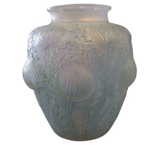 1926年頃 ルネラリック オパール色ガラス 「ドンレミ・シャルドン」 花瓶 シアン・グリーン色
