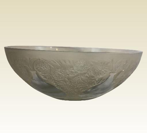 1921年 ルネラリック アート・ガラスボウル 古茶色と透明の「花瓶」 フランス