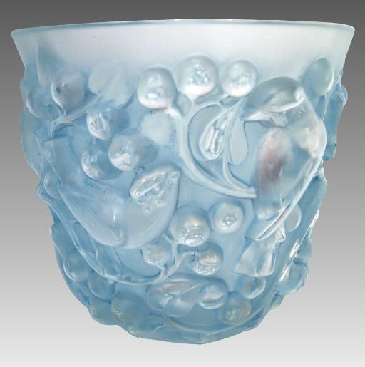 ルネラリック 「アバロン」 古青色のズズメの花瓶