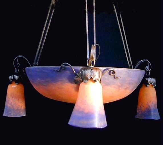 ミューラー兄弟(MullerFreresLuneville) ガラスのアンティーク照明