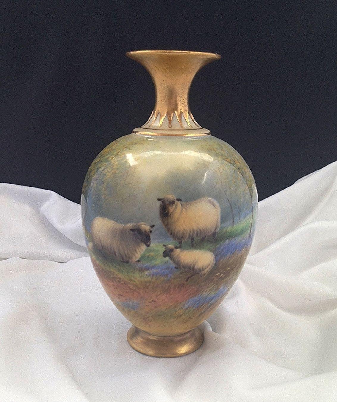 ロイヤルウースター Ernest Barkers氏 ハイランド地方の羊の花瓶