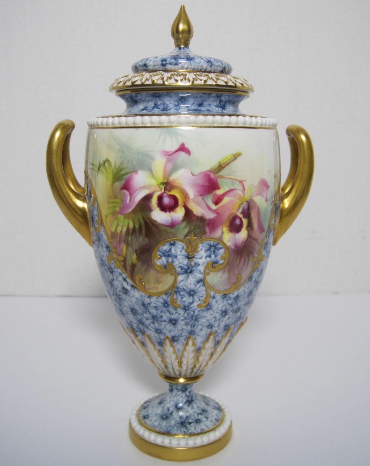 アンティーク ロイヤルウースター1903年 FRANK ROBERTS ハンドペイント 蘭の花瓶