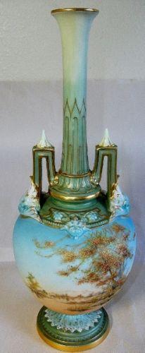 ロイヤルウースター 風景描写 陶器瓶 1985年頃の品