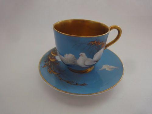 ロイヤルウースター ハンドペイント 鳩 ミニチュアカップ&ソーサー 1921年