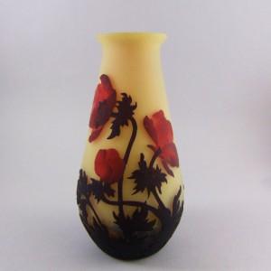 ミューラー兄弟 リュネヴィル フランス製 カメオ彫り 赤いケシ文 花瓶