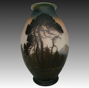 ミューラー兄弟 フランス製 カメオガラス 山と湖水の風景文 花瓶
