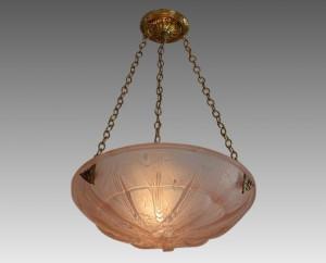 ミューラー兄弟 フランス製 アールデコ様式 ピンク 蝶々文 ペンダント アンティーク照明 1925年頃