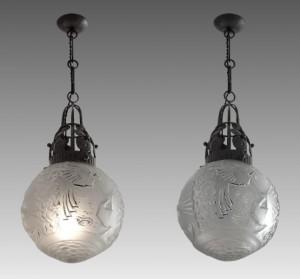 ミューラー兄弟作 フランス製 シャンデリア(アンティーク照明) ペア 1925年頃