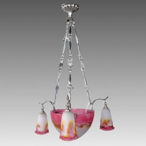 ミューラー兄弟 フランス製 アールデコ様式 ガラス 3アーム シャンデリア