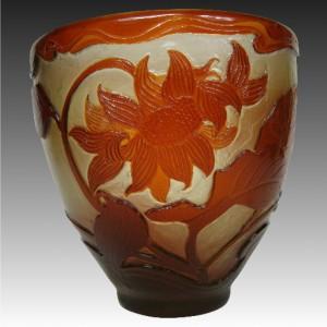 エミール ガレ フランス製 カメオガラス 花瓶 ホイールで彫られたファイアポリッシュ