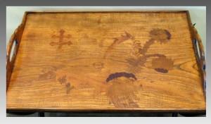 エミールガレ 傑作 木・象嵌細工 トレイ カスタムメイド スタンドテーブル
