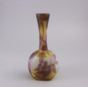 エミールガレ 藤花文 カメオガラス バンジョー型 花瓶