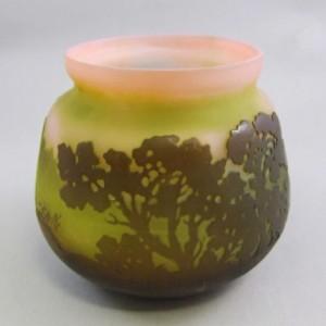 ガレ フランス製 風景文 カメオガラス アシッド技法による装飾 花瓶
