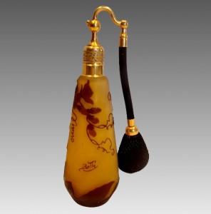 エミールガレ作 フランス製 カメオガラス アトマイザー付香水瓶 1906-1914年頃