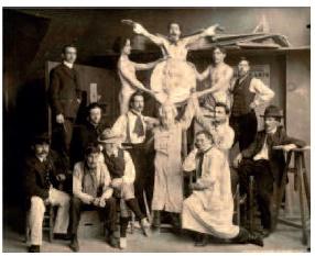 パリの美術学校でのシャルル・シュナイダー 1905年 シュナイダー兄弟