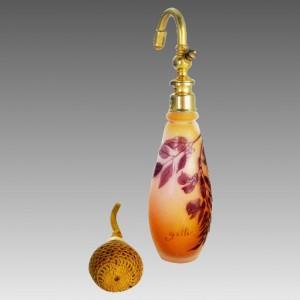 フランス製 エミールガレ カメオ工芸ガラス 香水瓶 アトマイザー 1910年頃