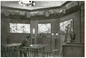 シュナイダー兄弟 ステンドグラス実演用のアトリエ パリ万博にて 1925年