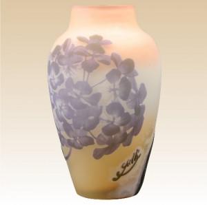 ガレ フランス製 パープル 紫陽花文 工芸ガラス  花瓶