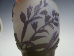 アンティーク ガレ カメオガラス キャビネット 花瓶 アメジスト色