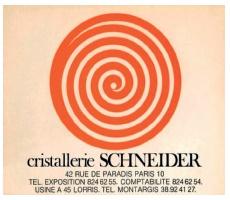 シュナイダー兄弟 シュナイダークリスタルガラス工場の訪問カード