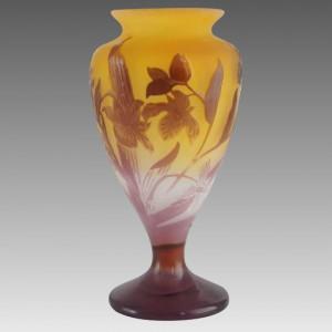 フランス製 エミール・ガレ アールヌーヴォー カメオ つぼみ 花瓶