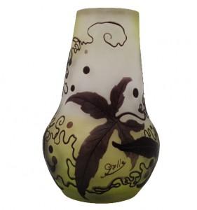 エミールガレ フランス製 カメオ工芸ガラスの花瓶 アールヌーヴォー パープルの花模様