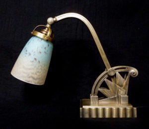 ボレッティ&シュナイダー兄弟 アンティーク照明 アールデコ調ランプ ブロンズランプ