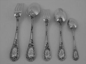 ピュイフォルカのスターリングシルバー食卓食器60本セットのフォークとスプーン
