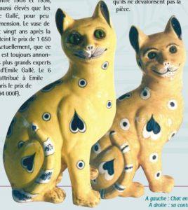 ガレ作の猫のファイアンス陶器とその偽物