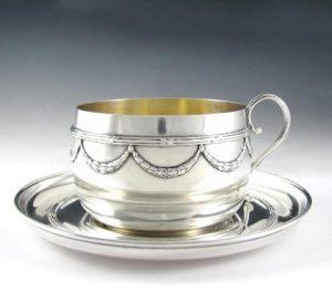ピュイフォルカフランス製アンティークスターリングシルバーカップ&ソーサー