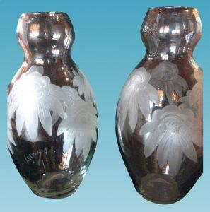 大きいペア花瓶 ルグラサイン入り フランス製 カメオ クリスタル カットアールヌーボ