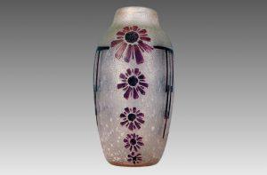 ルグラ フランス製 パート・ド・ヴェール アシッドカット 花柄デザイン 花瓶