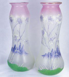 アールヌーボ ルグラ カメオ エナメル ガラス 湖の冬景色 花瓶
