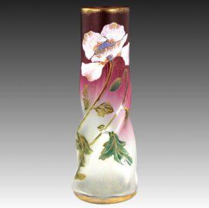 精巧 19世紀後半 モンジョワ 花瓶 フランス、ルグラガラス工場