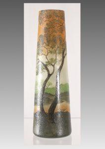 ルグラ アシッド エッチング エナメル カメオ 風景画花瓶