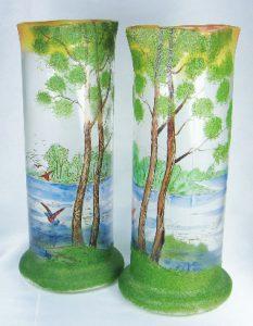アンティーク アールヌーボ フランス製 まだら模様のカメオガラス エナメル 湖の風景 花瓶