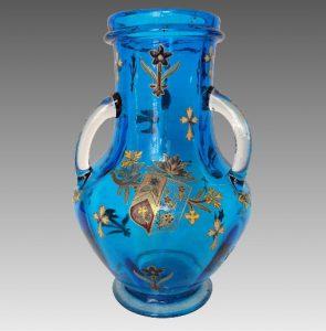 ルグラ フランス エナメル 金装飾 ターコイズブルー 背が高い花瓶 1890年代