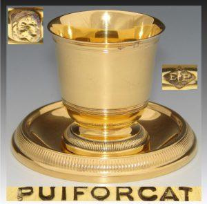 ピュイフォルカフランス製朱色18金エッグカップと下部プレート