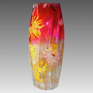 モーゼル ルグラ 12インチ クランベリー 金装飾 花瓶