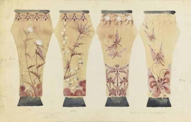 エミール・ガレ ファイアンス陶器製4面の2つの花瓶 デッサン画